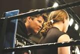 CHRIS STONE - Lana Stefanac gives Sara Schneider some advice in her corner.
