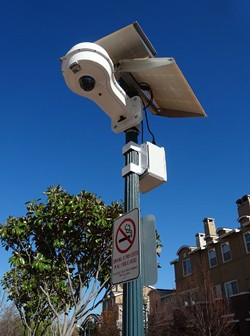 A surveillance camera recently installed near Hayward City Hall runs on solar power and transmits footage wirelessly, in real time to police officers' smart phones. - DARWIN BONDGRAHAM