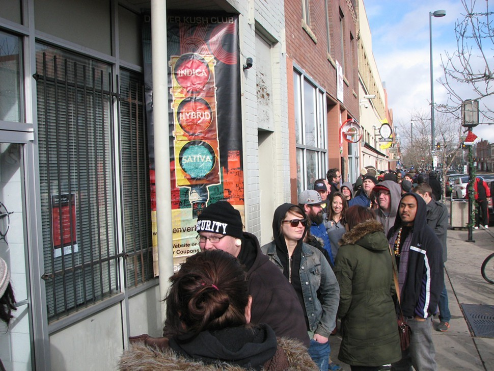 Long lines in Denver on day one of retail cannabis sales, which will net Colorado about $140 million in taxes in year one.
