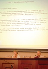 RIN KELLY - Mayor Beverly Johnson and Councilman Frank Matarrese at a recent meeting about the initiative.