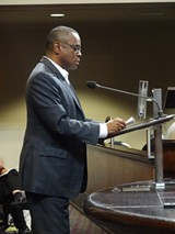 DARWIN BONDGRAHAM - Michael Johnson pushed for his luxury tower at last week's Oakland Planning Commission meeting.