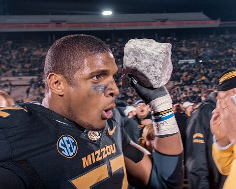 Michael Sam, the first openly gay football player to be drafted in the NFL, is still in professional limbo. - MARCUS QWERTYUS/WIKIPEDIA COMMONS
