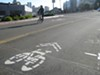 New sharrows on Webster Street offer bicylists an easy route through Uptown.