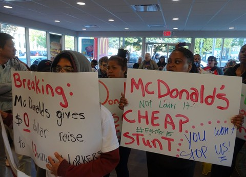 Fast food workers and activists responded to McDonald's April 1 announcement that the company is increases wages and benefits with skepticism. - DARWIN BONDGRAHAM