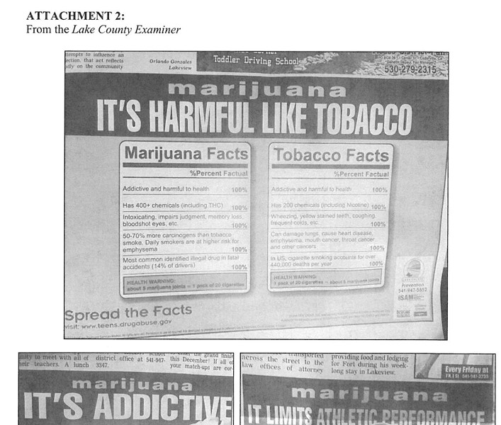No on 91 members appear to have improperly used public funds to influence the Oregon election, as with this recent print and TV ad misstating the relative harms of cannabis vs. tobacco. - REP. EARL BLUMENAUR'S OFFICE