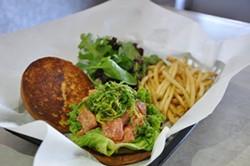 The ahi poke burger. - JJ BURGER