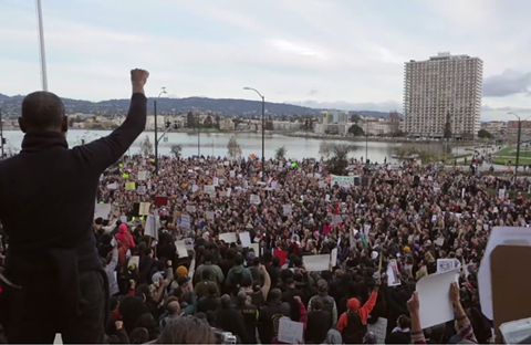 Still from Bert Johnson's recent Millions March Oakland demonstration. - BERT JOHNSON