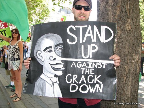 Oakland protestor in support of federal marijuana law reform (File photo, 2012)