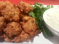 Deep-fried crab fritters. - GUSSIE'S SOUTHERN TABLE AND BAR