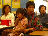 JOCELYN WIENER - Parents gather at Cleveland Elementary for a meeting of the school's English Learner Advisory Committee.