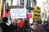 Protesters demonstrate against Israeli treatment of Palestinians.