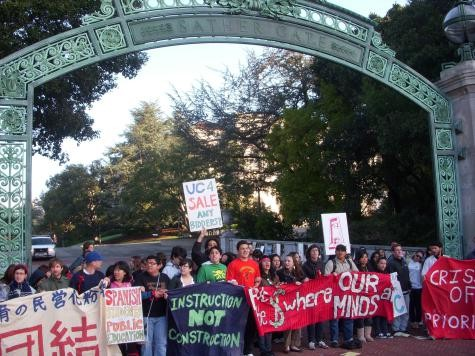 Protestors at Sather Gate on March 4, 2010.