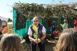 Rabbi Dan Goldblatt instructs in the use of ritual items at last year's Sukkot Festival.