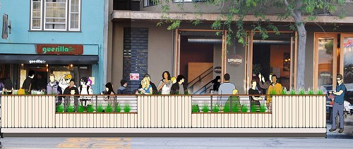 Rendering overlay of the the proposed Philz/Guerilla Cafe parklet.