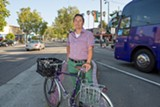 BERT JOHNSON - Renee Rivera of Bike East Bay notes that it's easy for cyclists to stop and shop.