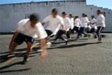 MELISSA BARNES - Running PE drills at Oakland Charter Academy.