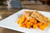 Sanctuary's fried Hodo Soy tofu and roasted butternut squash.