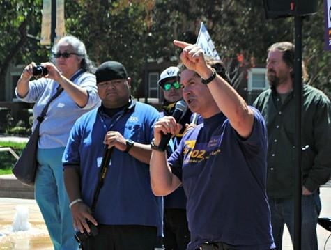 SEIUs Pete Castelli addressed the crowd on Tuesday.