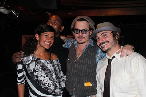 Shattuck Down Low in happier times. Left to right: Publicist Candida Martinez, actor Johnny Depp, and general manager Nick White