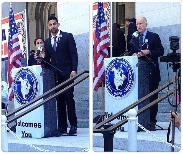 An image from Mann's Facebook showing a 2012 Sacramento press conference at which Mann claims to have introduced Governor Jerry Brown.