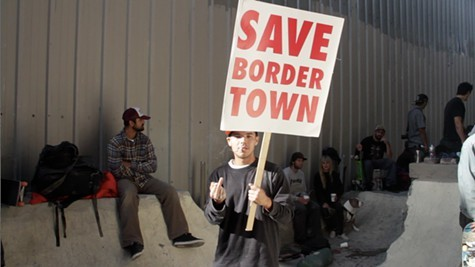 Skateboarders protesting Bordertowns demolition