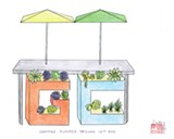 "LUKE TSAI - Sketches of Grocery Cafe's ""letterbox planters."""