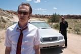Steve Buscemi as Saint John and Romany Malco as his coworker Virgil in Saint John of Las Vegas.
