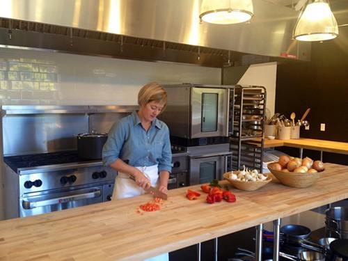 Tasha DeSorio, at work in her brand new prep space at The Berkeley Kitchens.