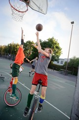 CHRIS DUFFEY - Team captain Lance Thornton goes in for a layup during a recent practice.