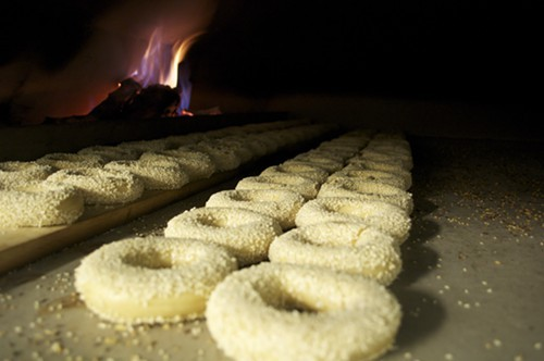 The bagels are baked in a wood-burning oven, as is traditional in Montreal.