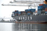 PRENTICE DANNER, COURTESY US COAST GUARD - The Cosco Busan sits at port in Oakland following its November 7, 2007 oil spill in the bay.