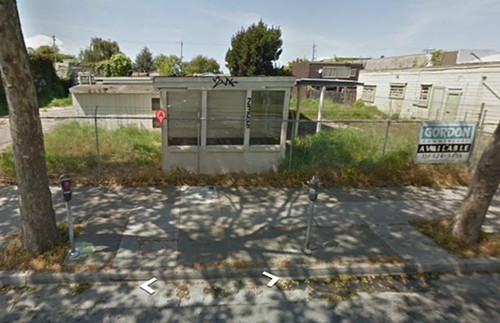The eyesore of 2366 San Pablo Ave, before to the medical marijuana industry rehabbed it