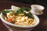 The hand-pulled noodles are pleasantly thick and chewy.  Photo by Chris Duffey