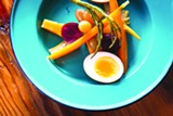 STEPHEN LOEWINSOHN - The pickle plate at Miss Ollie's includes pickled egg, beet, carrot, sea beans, grapes, and okra.