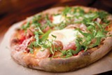 CHRIS DUFFEY - The pizza burbles with creamy mozzarella, nutty parmesan, and sharp pecorino.
