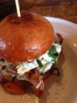 The soft-shell crab sandwich at The Dock.