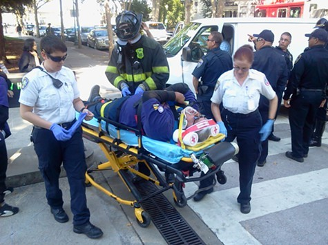 The striking worker was taken to Kaiser Hayward.