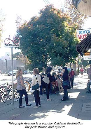 The survey found that area residents want to improve conditions for bicyclists and pedestrians on Telegraph Avenue.