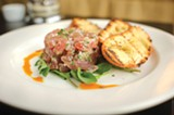 CHRIS DUFFEY - The tonno crudo is a rich, luscious hillock of raw ahi dressed in lemon juice, shallots, and chili oil.