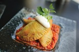 CHRIS DUFFEY - There's a lot going on inside the house Jamaican patty, all of it good.