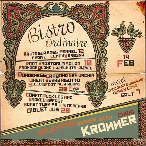 This weeks Bistro Ordinaire menu.