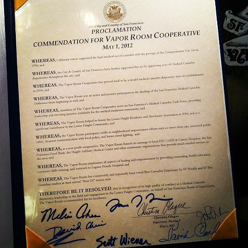 Tweetpic of May 1 Vapor Room Commendation from Board of Supervisors