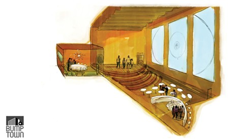 An artist's rendering of how Bump Town's performance space might be used during the day.