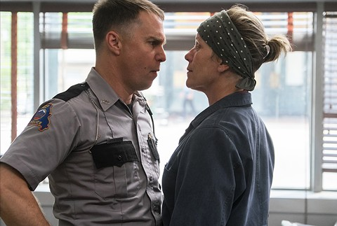 Sam Rockwell and Frances McDormand square off in Three Billboards Outside Ebbing, Missouri.