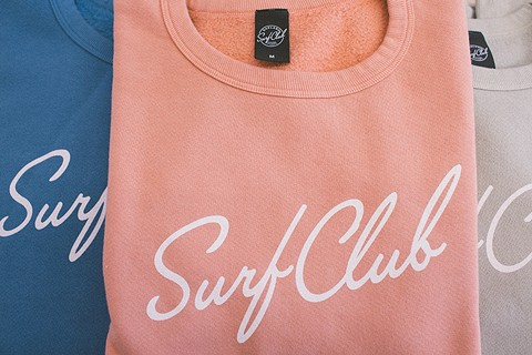 Oakland Surf Club's New Wave crew sweatshirt is gender-neutral. - PHOTO BY BRENNAN CUNNINGHAM