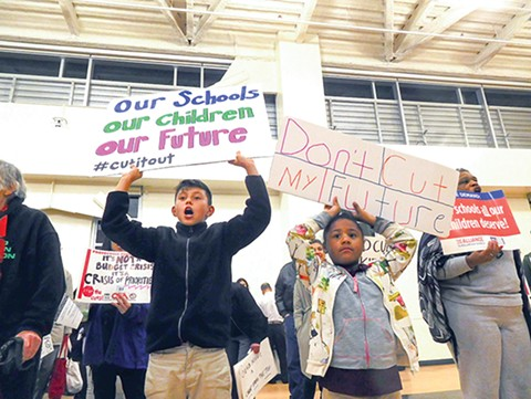 Students, parents, teachers, and activists are calling on the school board to not cut school site budgets. - PHOTO BY DARWIN BONDGRAHAM