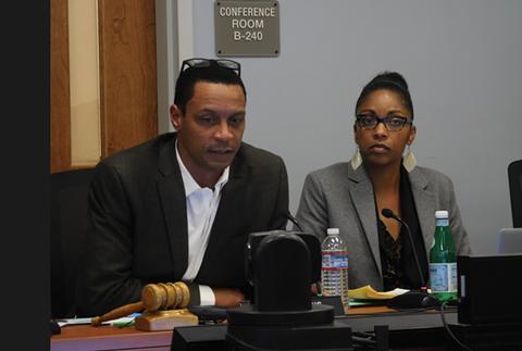 OUSD Board President James Harris and Superintendent Kyla Johnson-Trammell. - PHOTO BY DARWIN BONDGRAHAM
