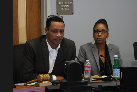 OUSD Board President James Harris and Superintendent Kyla Johnson-Trammell. - PHOTO BY DARWIN BONDGRAHAM
