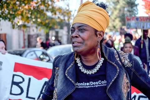 Sixty-three-year-old former Black Panther Aunti Frances has been living in her North Oakland triplex since 2009 and says it's the only place she can afford in the city. - DARRYL BARNES