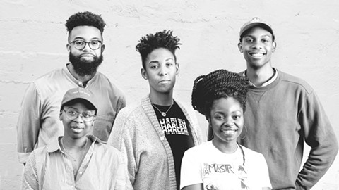 "Members of the film collective The Black Aesthetic: (back row, left to right) Jamal Batts, Leila Weefur, Ryanaustin Dennis; (front row) Zoé Samudzi, Malika ""Ra"" Imhotep. They organize screenings, moderate discussions, and publish books. - PHOTO BY LANCE YAMAMOTO"
